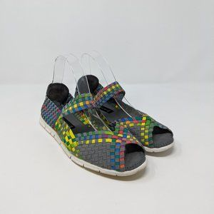 Steve Madden Rainbow Woven Peep Toe Mary Jane Flat